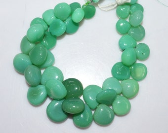 "1 Strand Chrysoprase Color Chalcedony Smooth Heart Shape Beads - Chalcedony Heart Shape Briolette, 9x9 - 15x15 mm, 8"", BL1969"
