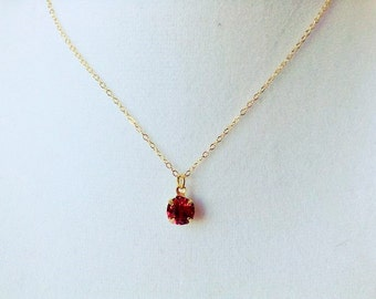 Rose color pendant necklace, rose red necklace, tiny red pendant necklace, rose stone pendant necklace,