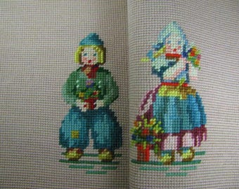 Vtg Set of punched yarn Dutch children