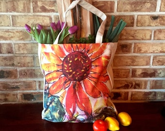 Rustic Colourful Sunflower Linen Shopping, Market Bag
