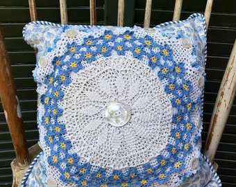 Vintage Crochet Mixed Doily Pillow with Blue  Waverly leaf pattern linen, Vintage Button, Blue Polished Cotton Striped back