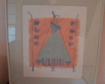 Original Native American Vintage Contemporary Mix Media Painting