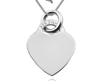 Heart Pendant/Necklace 925 Sterling Silver (can be personalized/engraved)