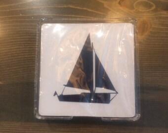 1 Set of 4 Nautical Coasters with Acrylic Holder