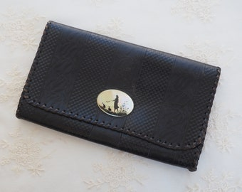 Vintage Tooled Black LEATHER Wallet  - Sillouette Girl Leading Ducks  - Change Purse