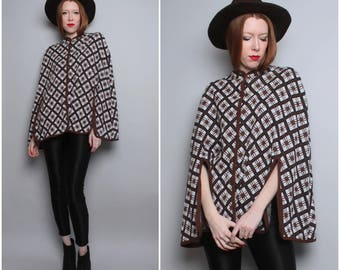 1960s Cape / 60's Mod Black and Brown Poncho