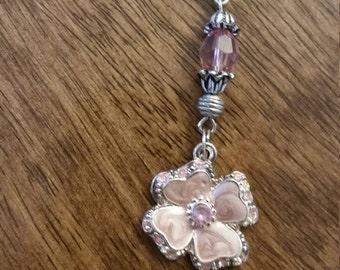 Pink flower keychain
