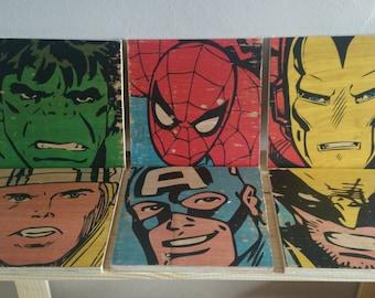 Superheroes Hulk Ironman Spiderman Thor Captain America Wolverine Marvel wood prints handmade comic nerd geek kids room man cave