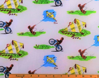 Curious George Fabric Flying Kites Fabric From Springs Creative