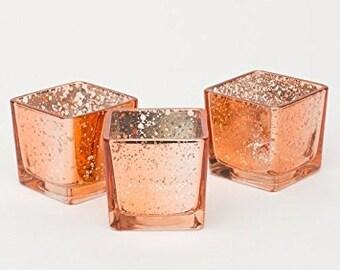 24 Rose Gold Mercury Glass Votives Candle Holder Wedding Reception Event