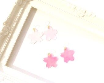 Cherry Blossom, Sakura, Earrings, Resin Pierce, Pink, Cute, Japan, Japanese, Spring,