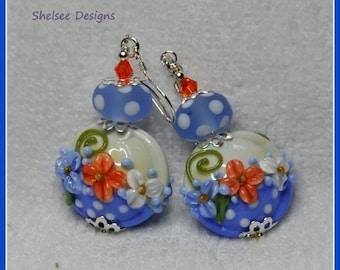 Blue Lampwork Earrings,Floral Earrings,Polka Dots, Apricot Flowers,Bead Earrings,Flowers - EASTER BONNET