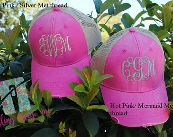 Custom Monogrammed Hat, Distressed Trucker Hat, Monogrammed Hat, Distressed Hat, Personalized Hat, Custom Hat, Personalized Monogrammed Hat