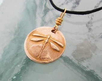 Handcrafted Golden Dragonfly Necklace