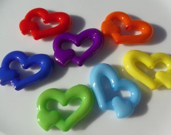 24mm*18mm, 10 CT, Mixed Colored Heart Chunky Beads, Valentine's Day, Acrylic, Bubblegum Beads, B16