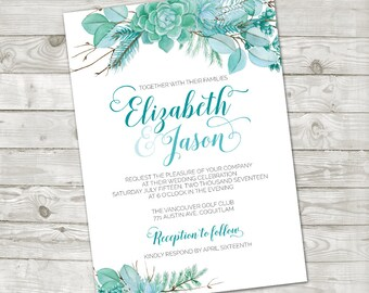 Succulent Wedding Invitation, Watercolor succulent wedding invite, Floral Wedding invite, Wedding invitation printable, Succulent leaves