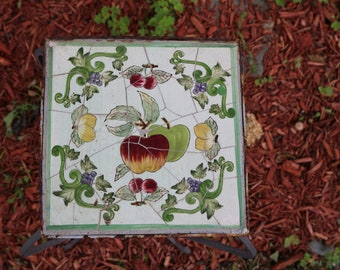 Vintage WROUGHT IRON and Italian Tile Garden Table Statue Stand End Table Features Apples Lemons Cherries Porch Garden Art