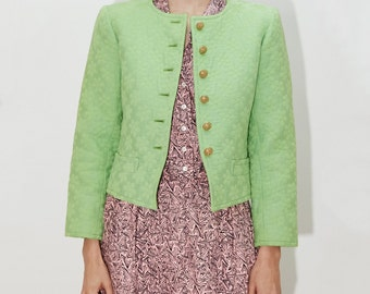 YVES SAINT LAURENT rive gauche Green Bolero Mod Cropped Buttondown Jacket, Designer Vintage ysl, sz xs / x small / small