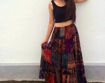 Patchwork skirt,Maxi Dress,patchwork dress,Strapless dress,Hippie Skirt,Elephant print,Bohemian dress,boho,festival,gypsy dress,vegan gift
