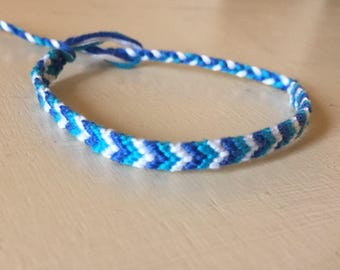 Blue Friendship Bracelet, Embroidery Floss bracelet