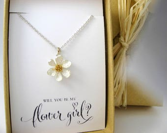 Flower Girl Gift, Flower Girl Necklace, Flower Necklace, Will you be my Flower Girl? Flower Girl Proposal, Thank you for being my Flower gir