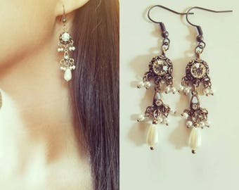 Gift for her, Vintage style earrings, Bohemian earrings, chandelier earrings, festival earrings, gypsy earrings, ethnic earrings,