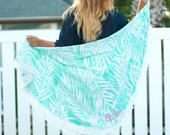 Monogrammed Round Beach Towel   Personalized Aqua Palm Circle Towel   Aqua Blue Yoga Mat   Cute Sand Circle   Custom Round Beach Towels