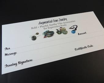 25 Dollar Gift Certificate for Augmented Gem Jewelry Designs from Stoney Creek / Hamilton Ontario, Twenty Five Dollars Canadian No Expiry