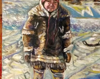 """Original Oil Painting on wood board, Inuit Child, 16""""x12"""",1804291"""