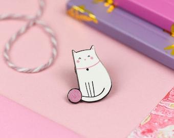 Cute Cat Enamel Lapel Pin | adorable cat wool ball pin hat badge screenprint