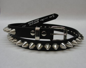 "3/4"" (20mm) wide Genuine Leather Belt with 1 row 1/2"" (13mm) UK/77 British/English Apex Cone Studs Silver/Chrome Studded Spiked USA NYC"