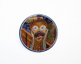 The Scream Embroidered Patch, Iron On Morty Scream Patch, Painting patch Art Impressionist artist patch Embroidered art patch