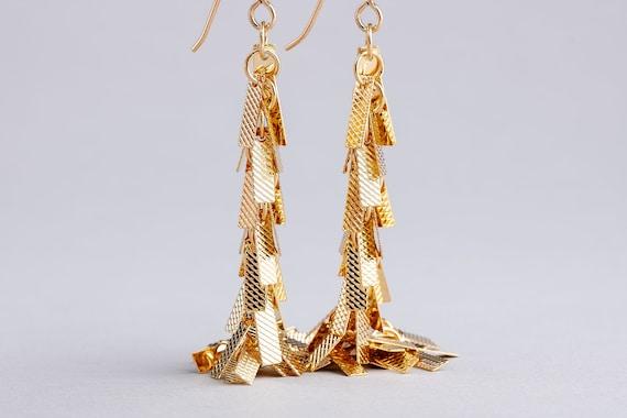 Textured Gold Tassel Fringe Cluster Earrings - Long Gold Dangle Earrings - Long Gold Shoulder Duster Chain Earrings - Gold Bar Earrings