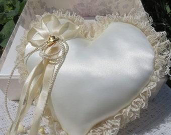 Hortense B Hewitt ring bearer wedding pillow/ heart wedding pillow/ satin heart ring bearer pillow/ wedding pillow/ country theme wedding