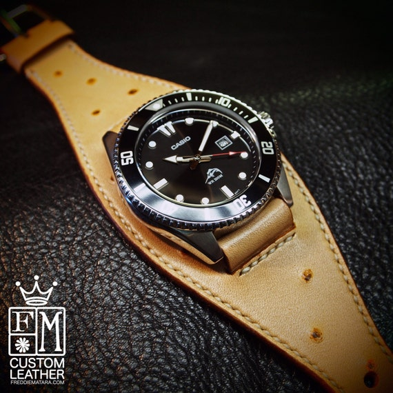Leather Cuff Watch faux ostrich Casio diver Classic ROCKSTAR watch Bracelet made for YOU in USA by Freddie Matara