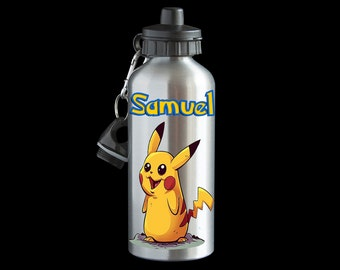 Personalised PIkachu Pokemon Go Water bottle, Aluminium Water bottle, Pikachu Drink Bottle, Pokemon gift, Pikachu Bottle