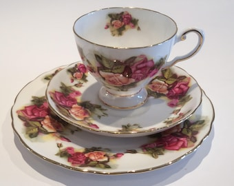 Tuscan Tea cup saucer side tea bread butter plate large Pink Roses afternoon high tea party English vintage tea set tableware
