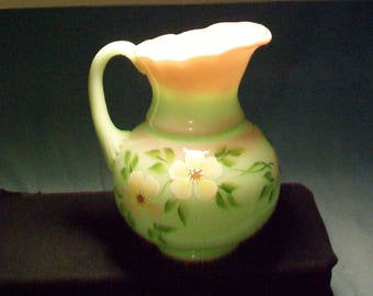 Fenton Hand Painted Pink Green Pitcher