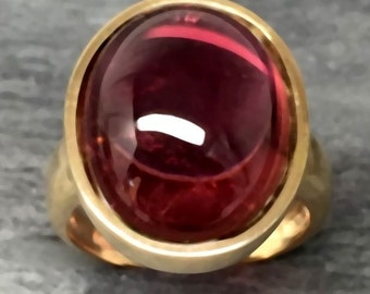 AAAA Rubellite Tourmaline   16x12mm  11.21 Carats   in 14K yellow gold ring, also available in White gold 0261