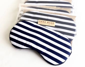 Navy Blue Stripe Eye mask, Sleep mask, Eye sleep mask, Travel Sleep Mask.