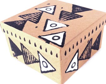 Kraft box Triangle print Gift box Hand stamped Kraft gift box Watch box Hand painted box Jewelry packaging Gift box with lid Jewelry box