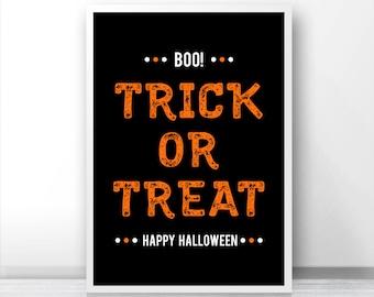 Halloween Print Trick Or Treat, Instant Download Printable Halloween Decor, Halloween Printables, Fall Print, Digital Halloween Art 8x10