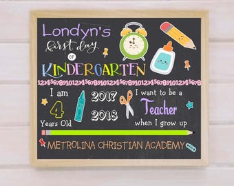First Day of School Sign, 1st Day of School Chalkboard, Back to School Sign, First Day of Kindergarten Sign- Digital File, ohsocutesy