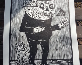 Masked Man with Bird Woodcut Print by Cesar Chavez