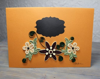 Greetings card, personalised card, custom card, large format card, chalkboard, black and ivory quilled flowers, blank card