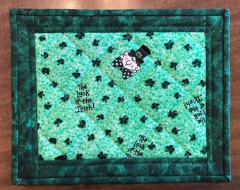 Quilted mug rug, St. Patrick's Day, shamrocks, candle mat, mini-placemat, snack mat, Quiltsy handmade, Item #331