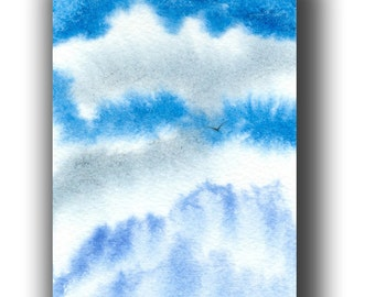 ACEO watercolor BLUES clouds original painting 7 card draw