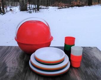 Vintage Ingrid Picnic Ball - Picnic Set - Red Picnic Set - Outdoor - Cottage - Farmhouse - Retro
