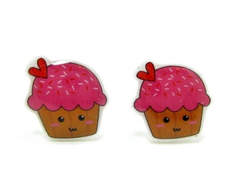 Pink Cupcake Earrings | Sterling Silver Posts Studs | Gifts For Her