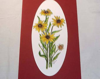 Original Pen and Ink with Watercolor Painting with Mat - Black Eyed Susan Flowers - Susans Flower  - Original Art - Not a Print
